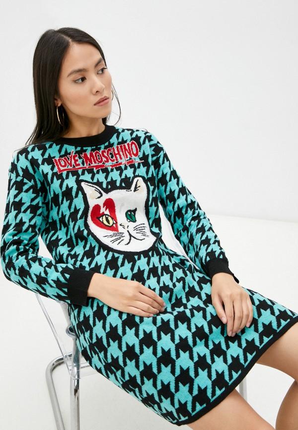женское платье-свитеры love moschino, бирюзовое