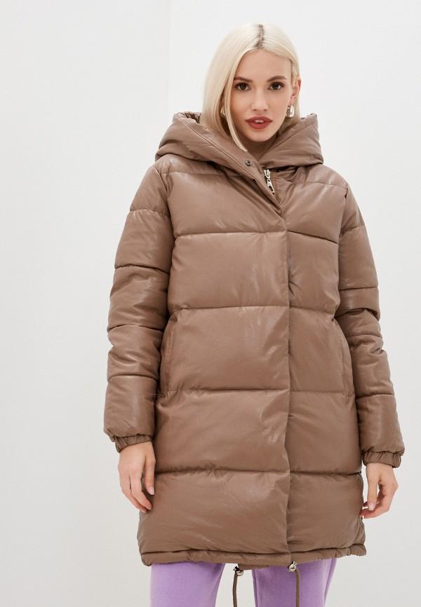 женская кожаные куртка fadas, коричневая