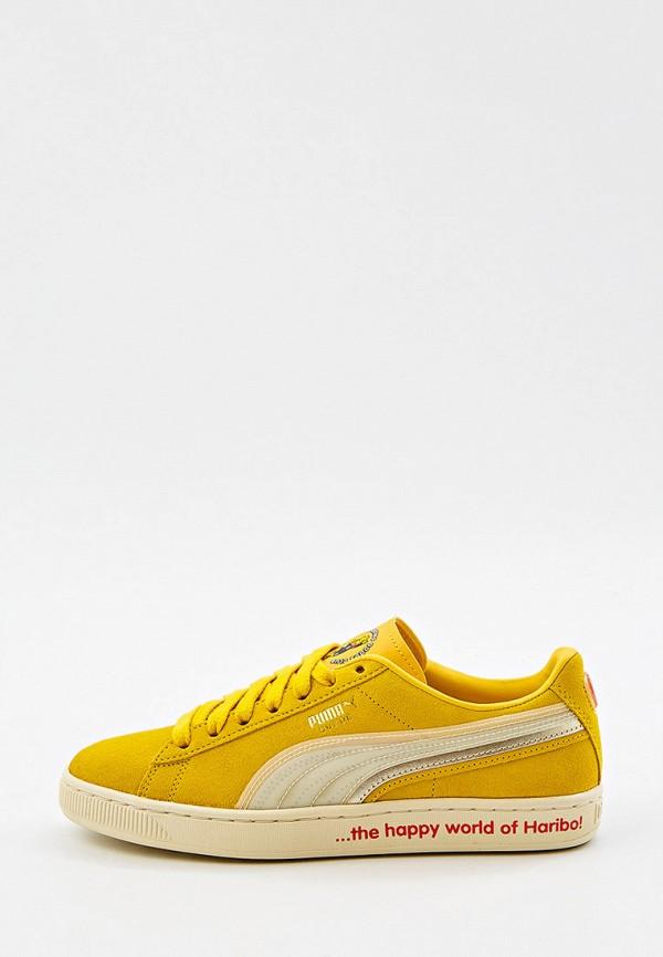 женские низкие кеды puma, желтые