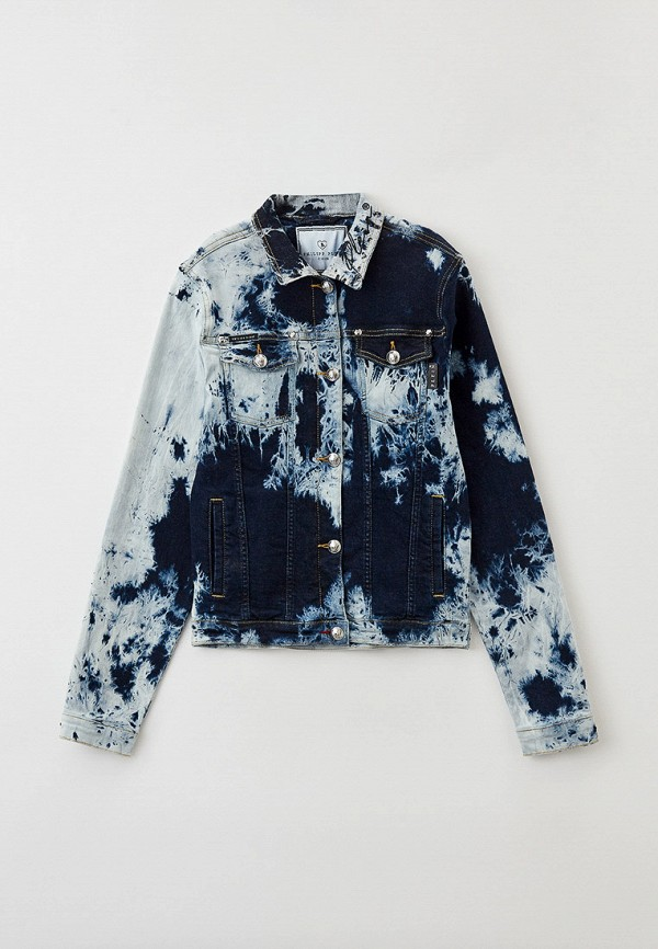 джинсовые куртка philipp plein для девочки, синяя