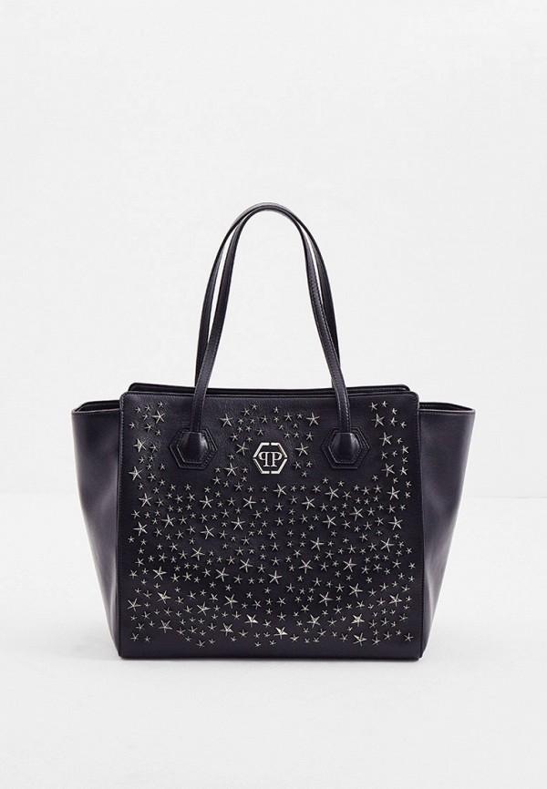 женская сумка-шоперы philipp plein, черная