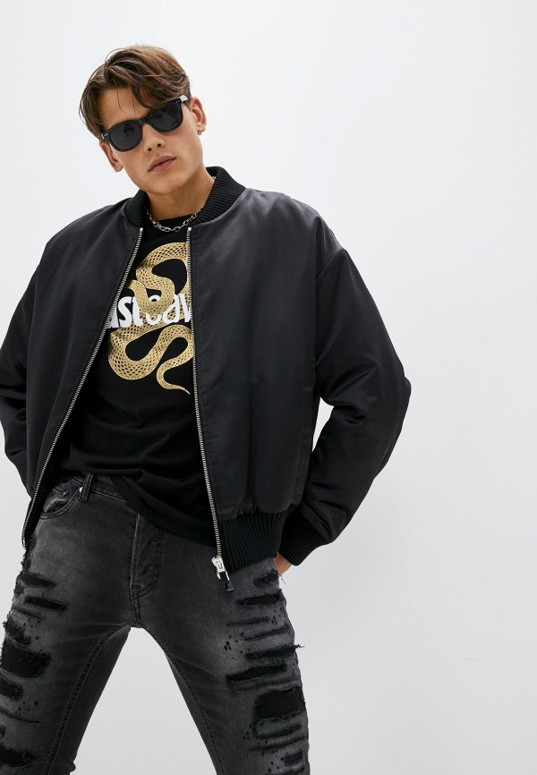 мужская куртка бомбер just cavalli, черная