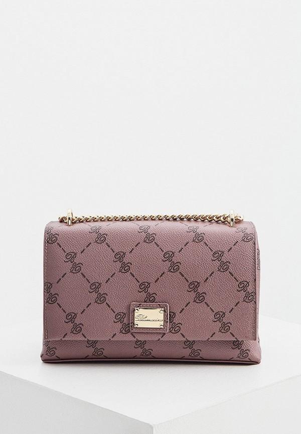 женская сумка через плечо blumarine, розовая