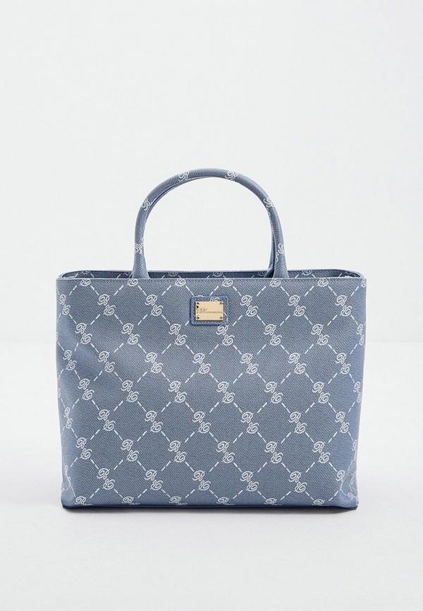женская сумка с ручками blumarine, голубая