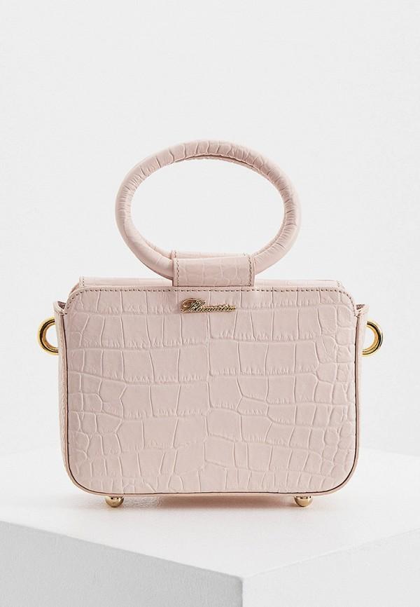 женская сумка с ручками blumarine, розовая