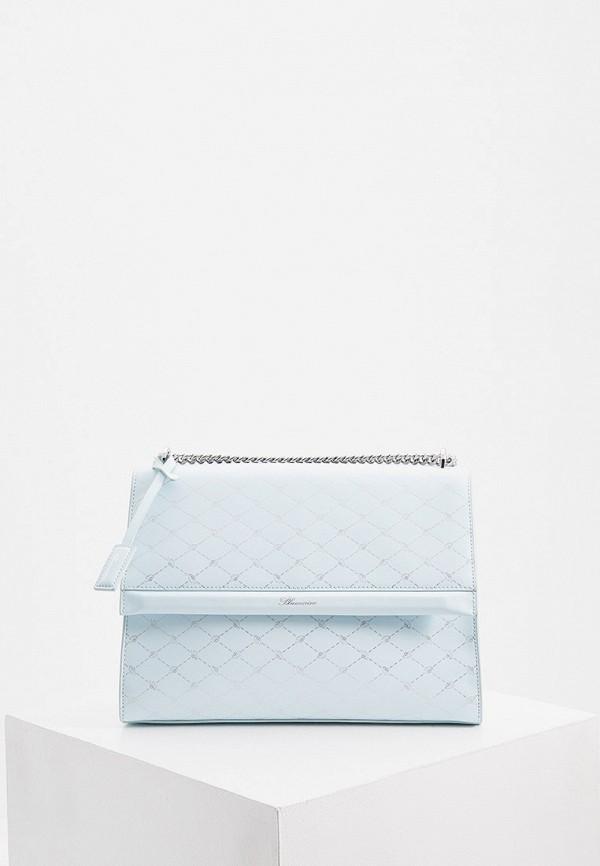 женская сумка через плечо blumarine, голубая
