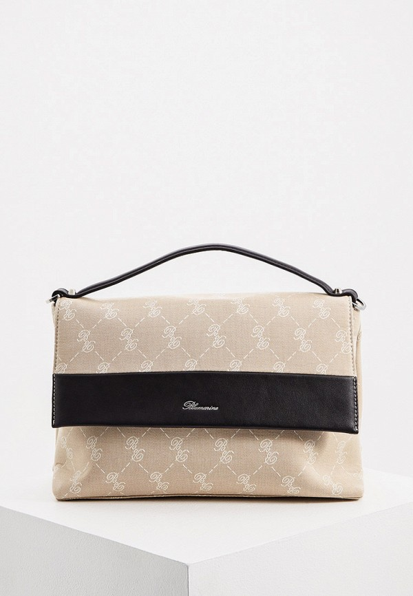 женская сумка с ручками blumarine, бежевая