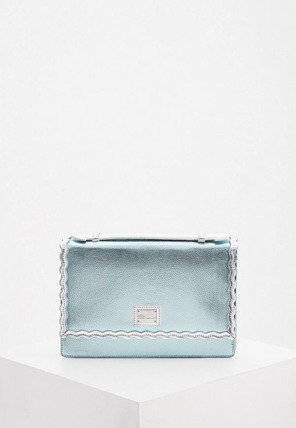 женская сумка с ручками blumarine, бирюзовая
