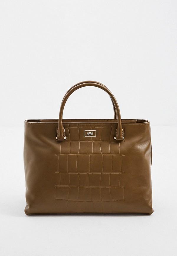 женская сумка с ручками cavalli class, хаки