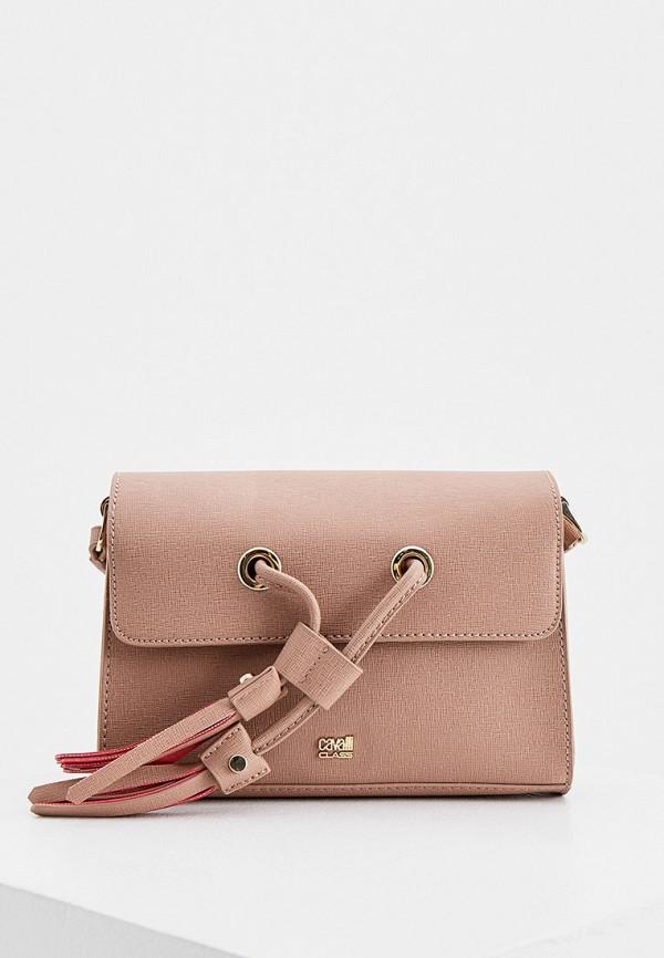 женская сумка через плечо cavalli class, розовая