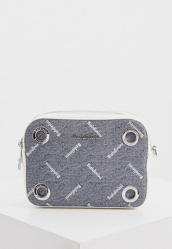 женская сумка через плечо baldinini, голубая