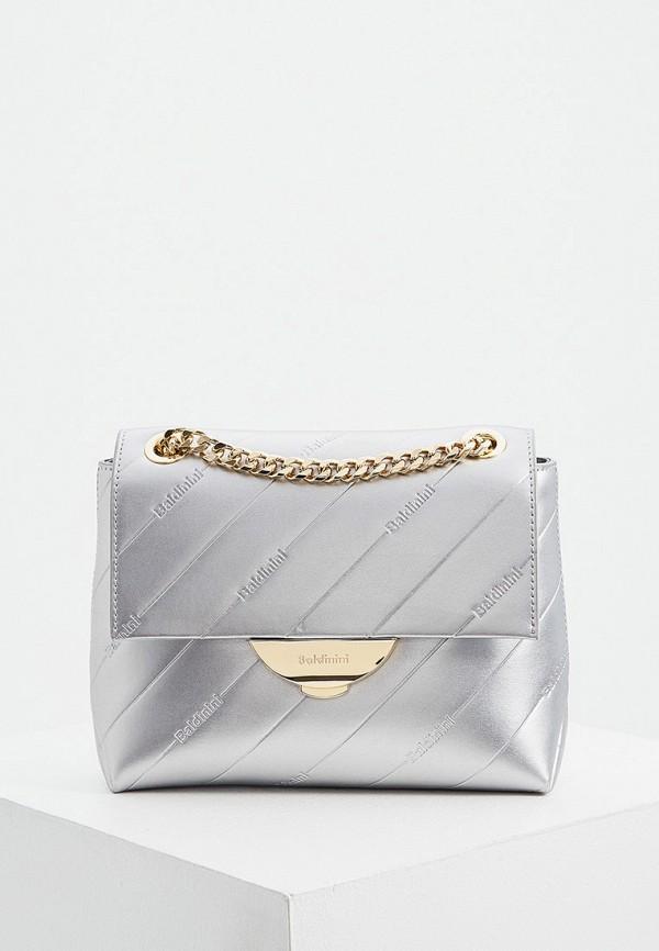 женская сумка через плечо baldinini, серебряная