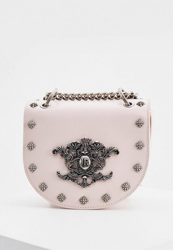 женская сумка через плечо john richmond, розовая