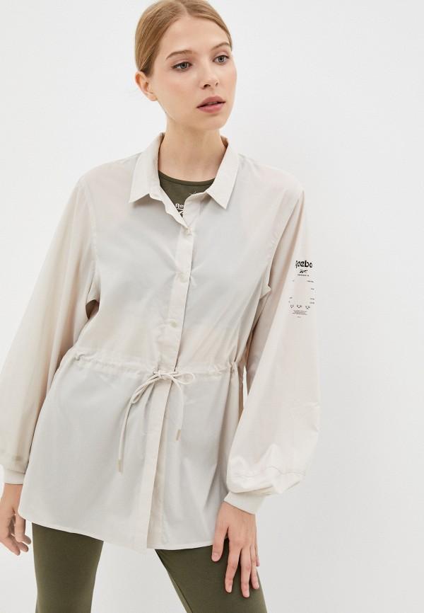 женская рубашка с длинным рукавом reebok, бежевая