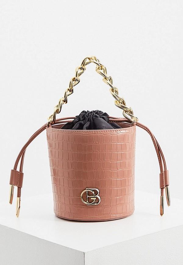 женская сумка через плечо baldinini, розовая