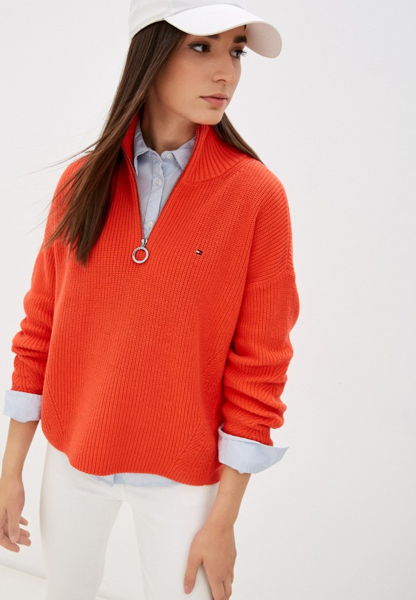женский свитер tommy hilfiger, оранжевый