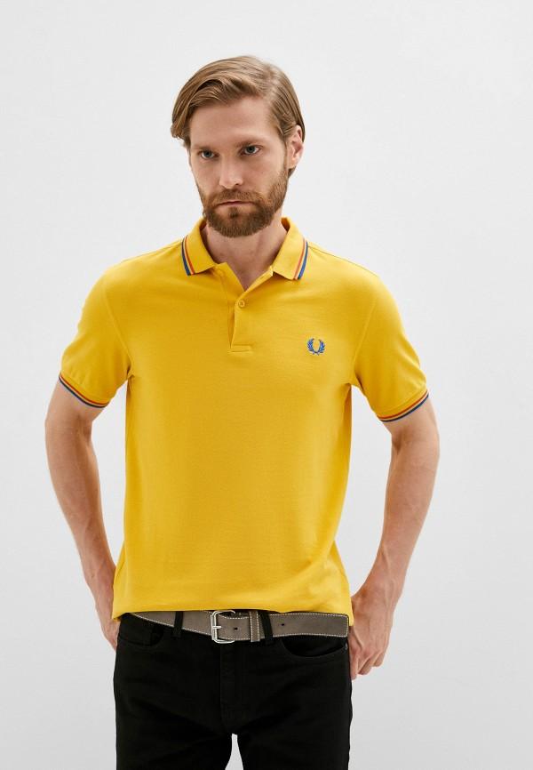 мужское поло с коротким рукавом fred perry, желтое