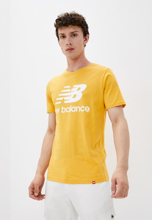 мужская футболка с коротким рукавом new balance, желтая
