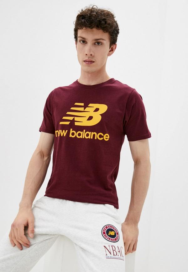 мужская футболка с коротким рукавом new balance, бордовая
