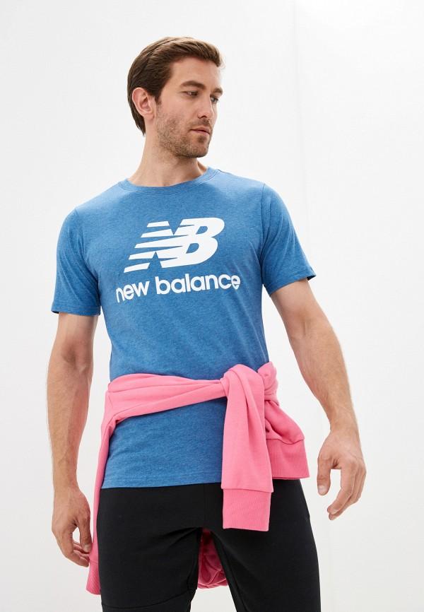 мужская футболка с коротким рукавом new balance, голубая