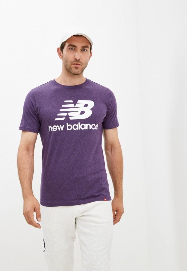 мужская футболка с коротким рукавом new balance, фиолетовая