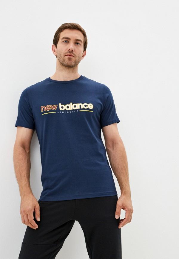 мужская футболка с коротким рукавом new balance, синяя