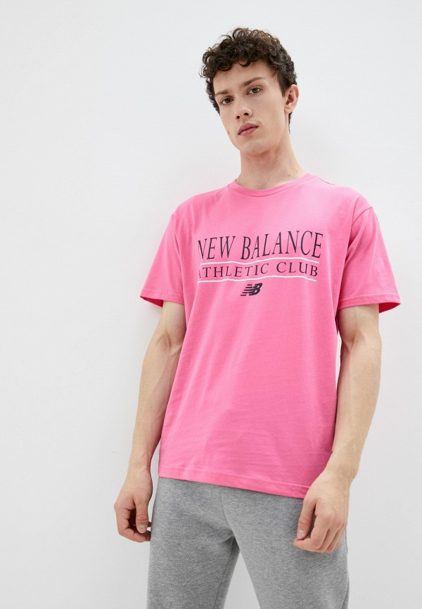 мужская футболка с коротким рукавом new balance, розовая