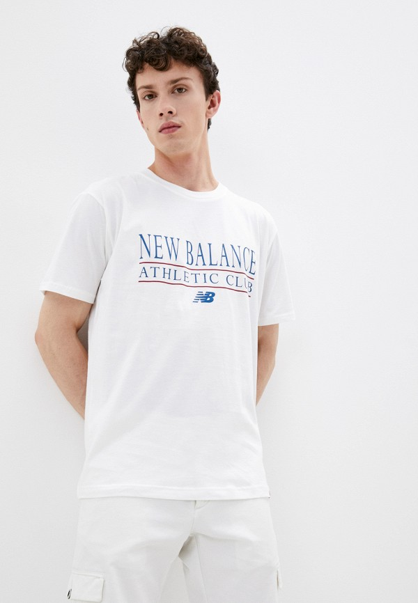 мужская футболка с коротким рукавом new balance, белая