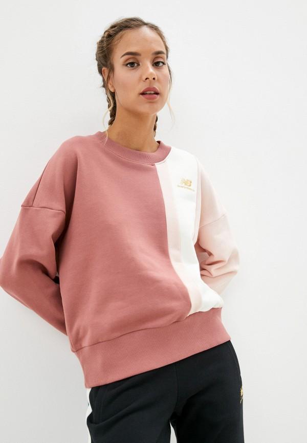 женский спортивные свитшот new balance, розовый