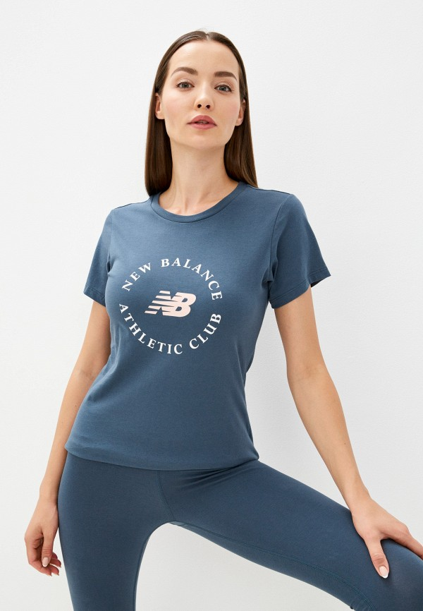 женская спортивные футболка new balance, синяя