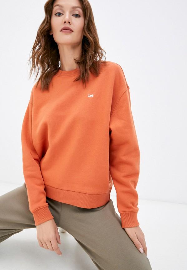 женский свитшот lee, оранжевый