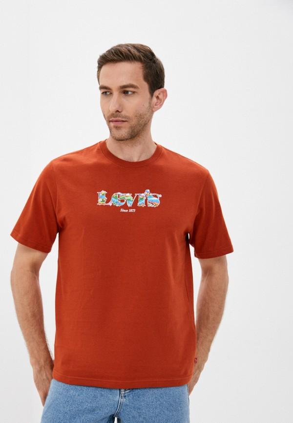 мужская футболка с коротким рукавом levi's®, коричневая