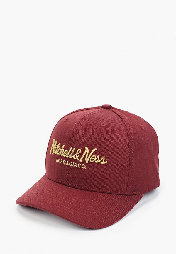 женская бейсболка mitchell & ness, бордовая