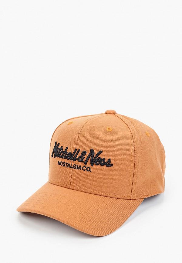 женская бейсболка mitchell & ness, коричневая