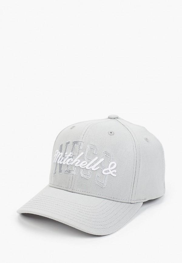женская бейсболка mitchell & ness, серая