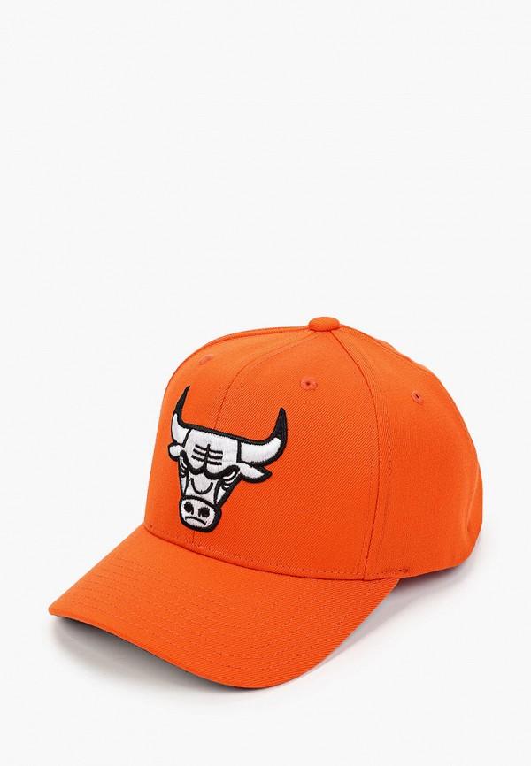 женская бейсболка mitchell & ness, оранжевая