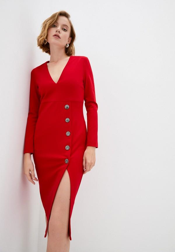 женское платье-футляр pinko, красное