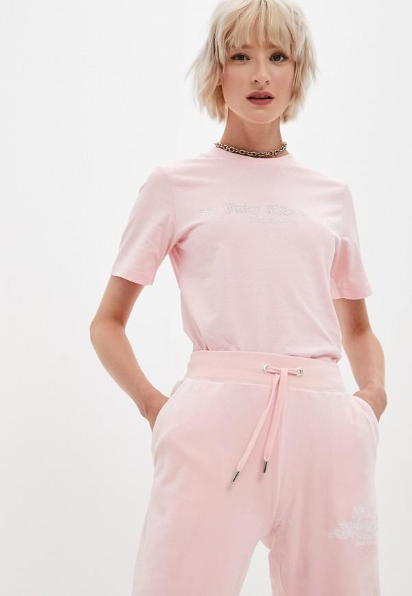 женская футболка juicy couture, розовая