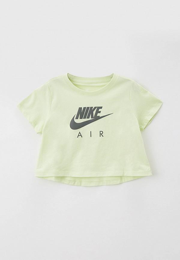 футболка с коротким рукавом nike для девочки, зеленая