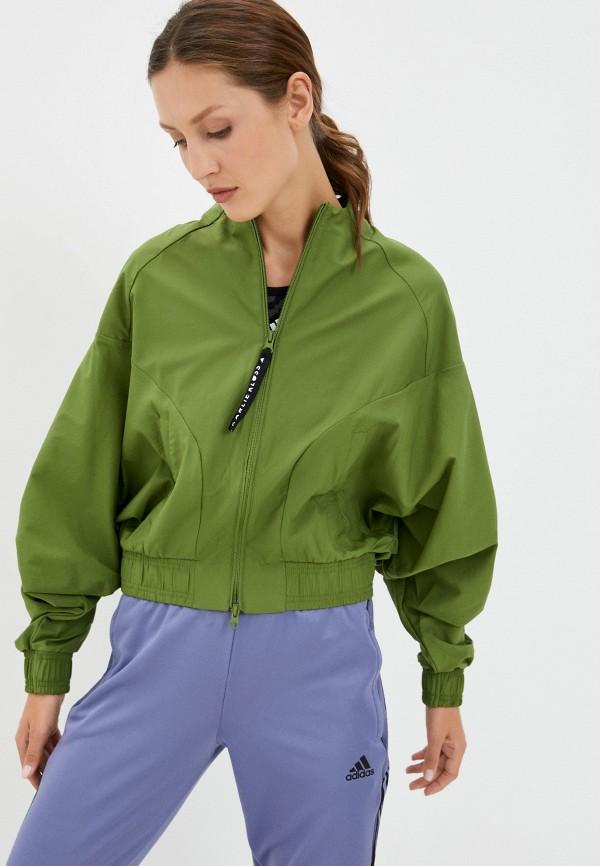 женская куртка adidas, зеленая