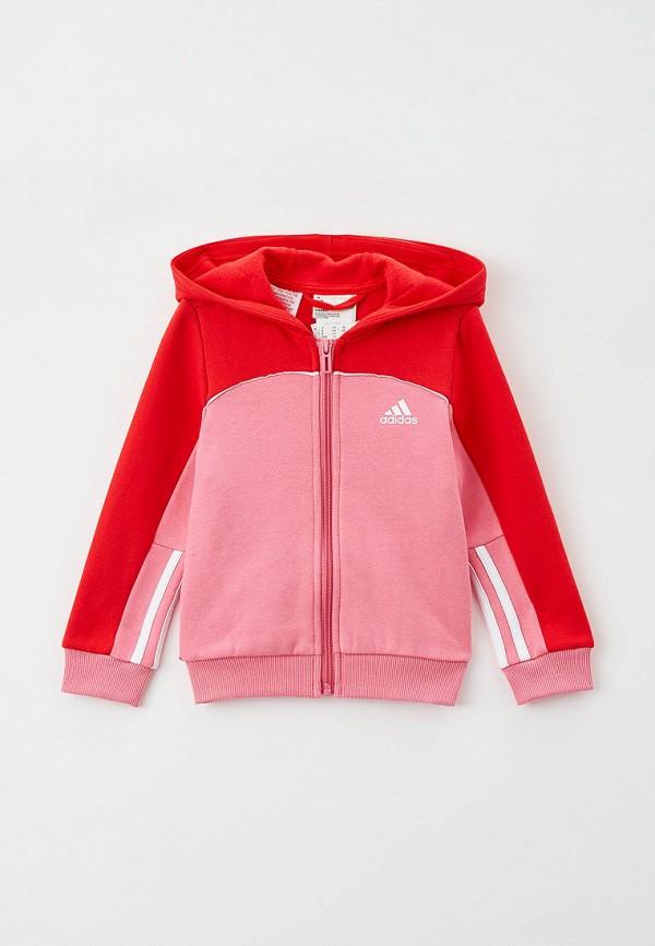 толстовка adidas для девочки, розовая