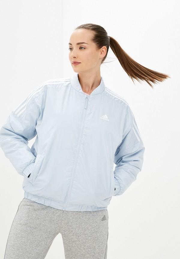 женская куртка adidas, голубая