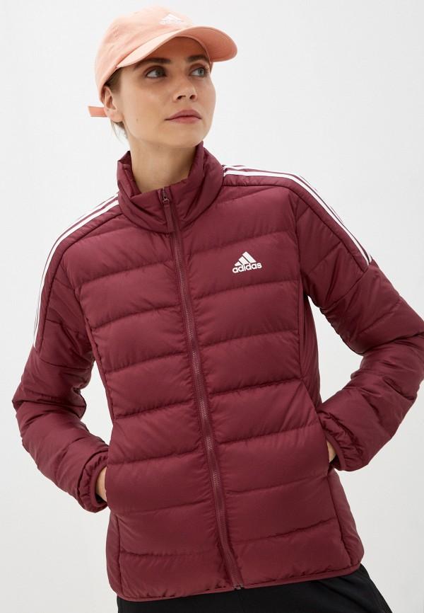 женский пуховик adidas, бордовый
