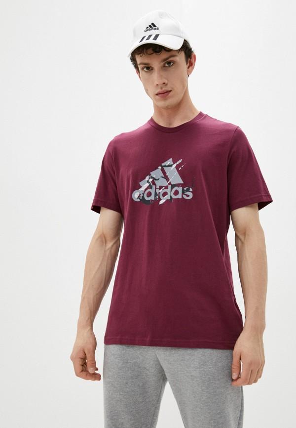 мужская футболка с коротким рукавом adidas, бордовая