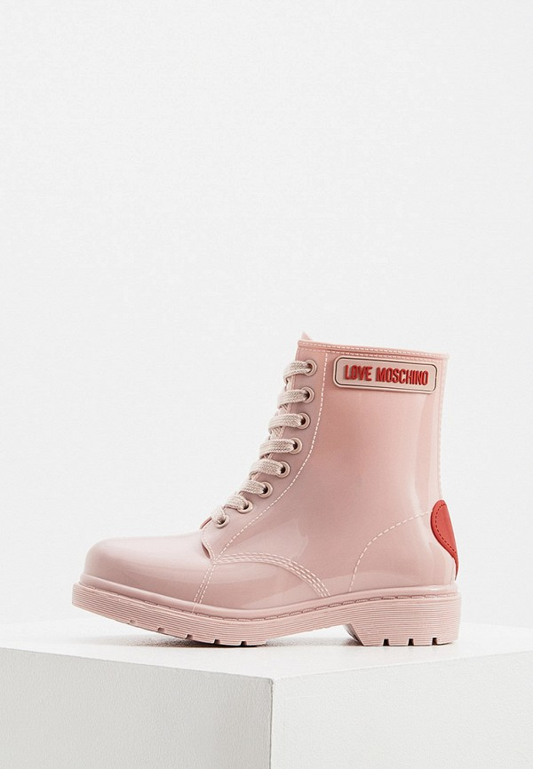 женские ботинки love moschino, розовые