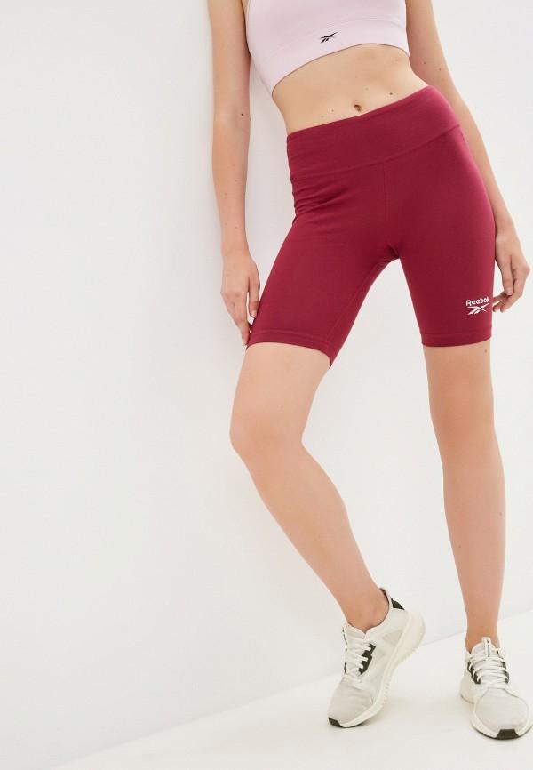 женские спортивные шорты reebok, бордовые