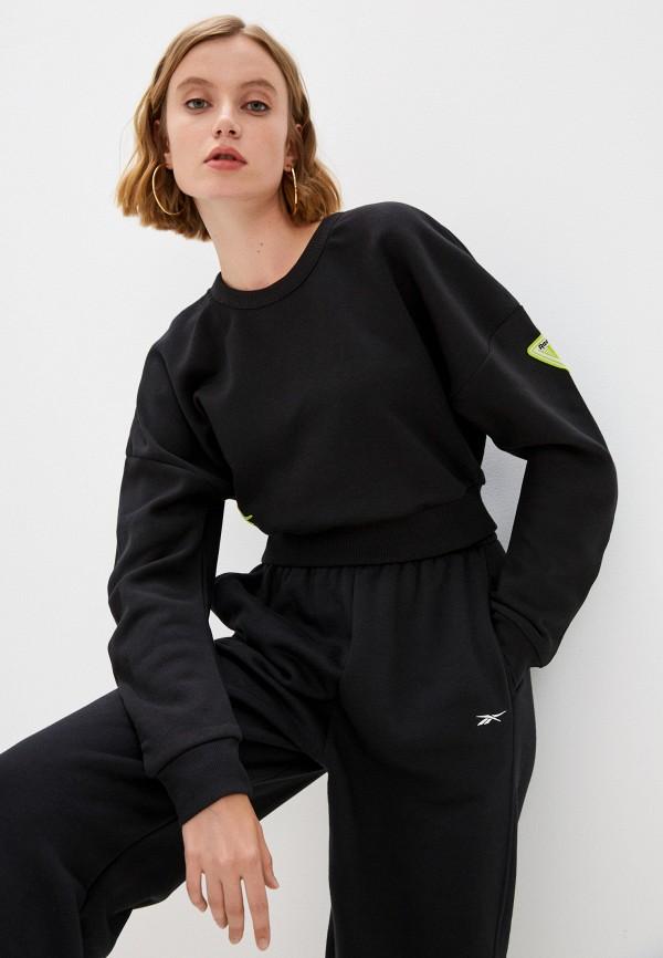 женский спортивные свитшот reebok, черный