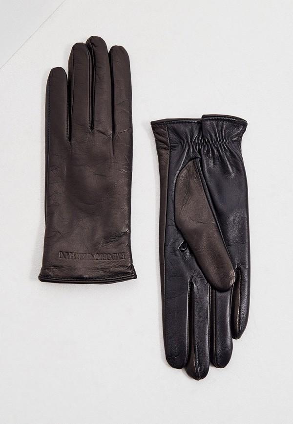 женские кожаные перчатки emporio armani, коричневые