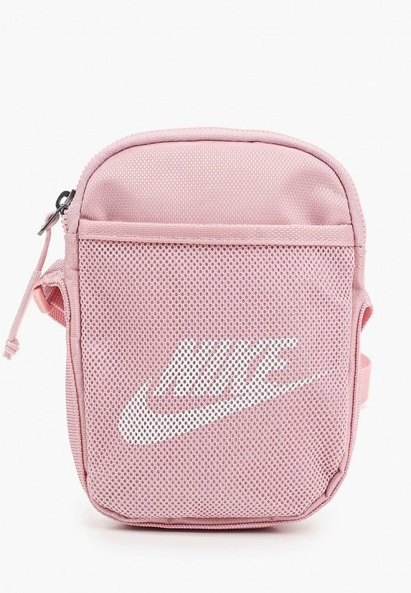 женская сумка через плечо nike, розовая