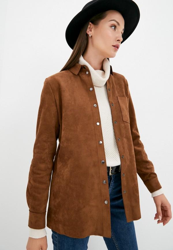 женская рубашка с длинным рукавом taifun, коричневая